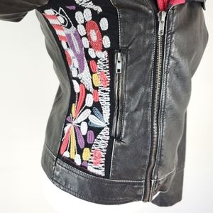 Desigual vegan leather jacket with embroidery